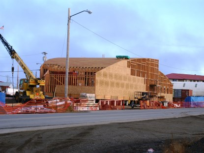 Walls and roof are framed on the new Northwest Arctic Heritage Center.
