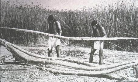 making tule reed canoe