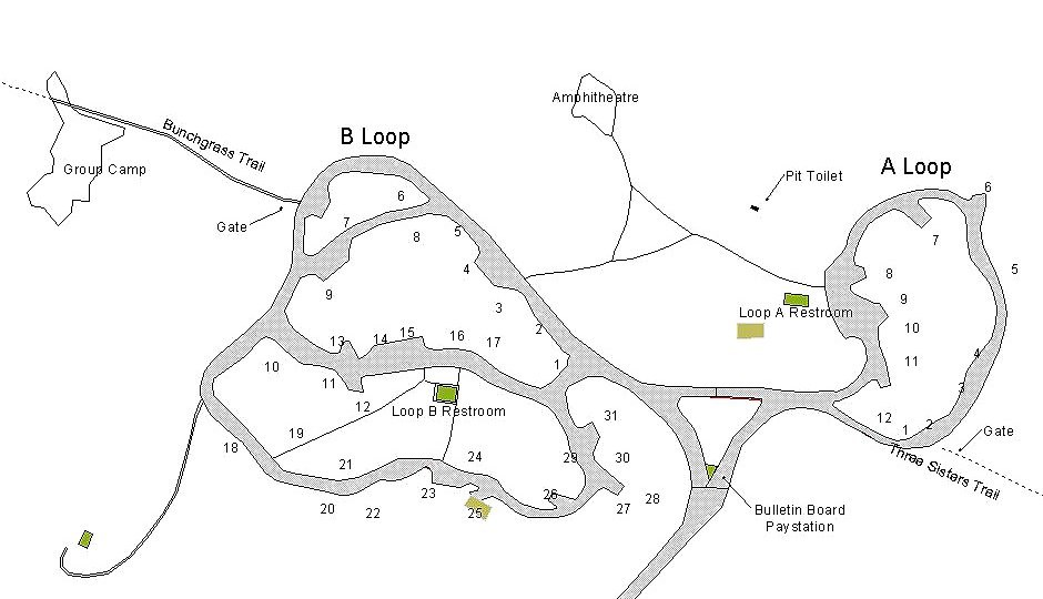 campground map detailing site locations 1-43 in A and B camp loop.