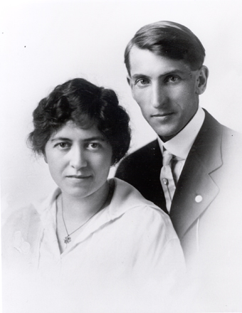 Black and white portrait-style photo of a man and woman