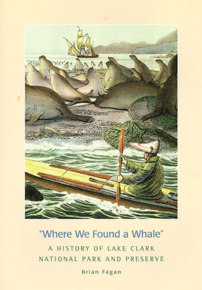 "Book Cover for ""Where We Found A Whale"" featuring a painting of an Alutiiq hunter paddling his kayak past a seal rookery with a large European ship sailing in the background."