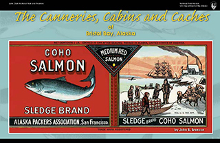 book cover showing depictions of a salmon and people on boats