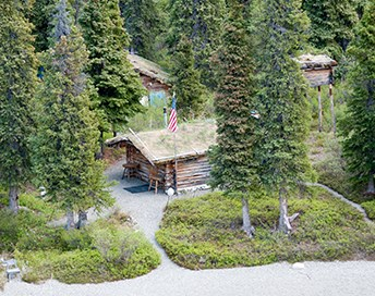 aerial view of three a forest with log buildings and gravel pathways between them.
