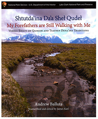 Front cover of My Forefathers Are Still Walking with Me, with book tile and photo of a stream with mountains in the background.