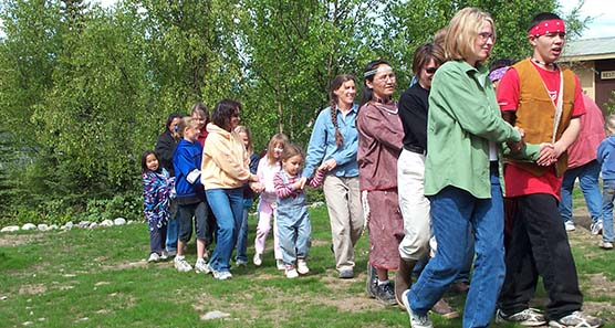The Lake Clark Community celebrates the June 2005 opening of the Park Visitors' Center.