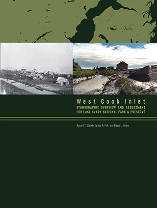 green book cover of West Cook Inlet with two inset photos of small villages with skiffs near the water.