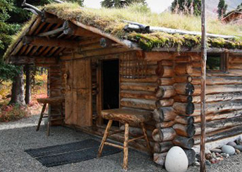 a log cabin with sod roof