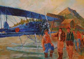 painting of several men standing near a small propeller airplane