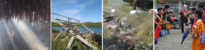 montage of four images; from left to right, showing strips of salmon hanging in a smoky room; a log framework near a lake; people fishing for salmon with hand nets; and Alaska Native youth kneeling in two rows before an elder