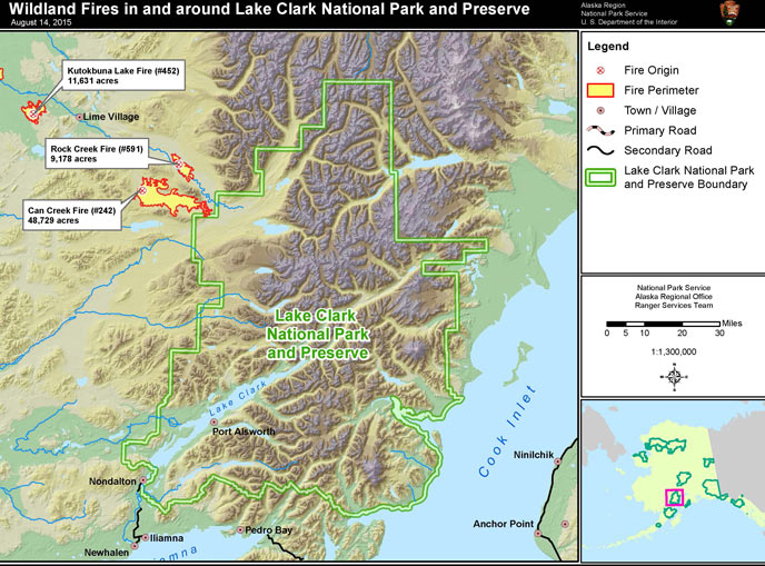 Map Of Lake Clark Showing The Location Of Five Fires To The West Of The National