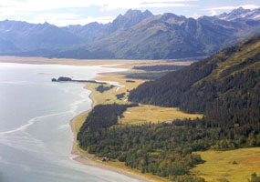 aerial view a coastline near the ocean with narrow meadows and tall mountains rising.
