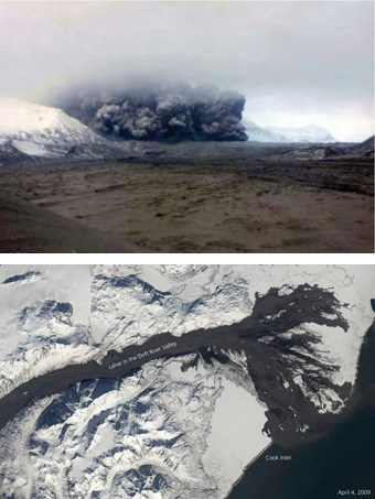composite of two images. The top photo shows a lava flow speeding down the flanks of a snowy volcano. The lower photo is an aerial view showing a huge black swatch of lava flowing past snow-covered mountains