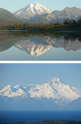 Composite of two images. The top photo shows a tall, snow-covered volcano reflecting in a lake fringed by forest. The bottom photo shows a series of snow-covered mountains and a snow-covered volcano looming above the ocean