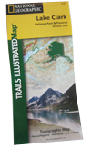 "A folded map reading ""National Geographic Trails illustrated: Lake Clark."""