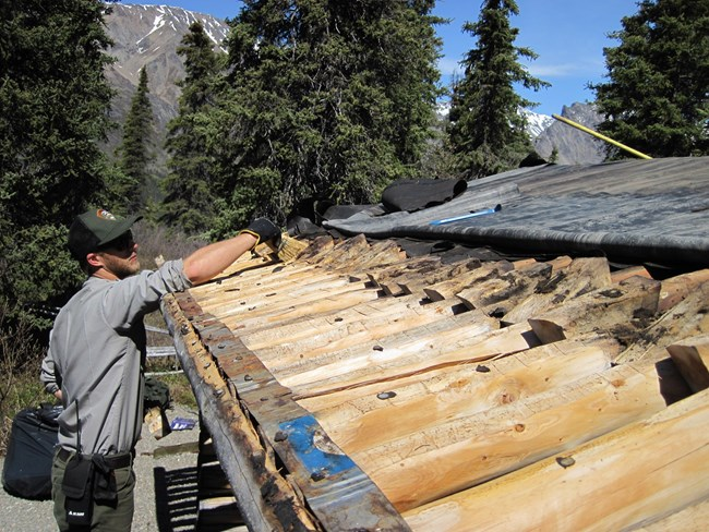 a ranger works on an exposed cabin roof