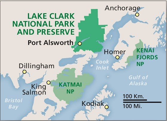 a map indicating Lake Clark's location across the Cook Inlet from Anchorage and Homer