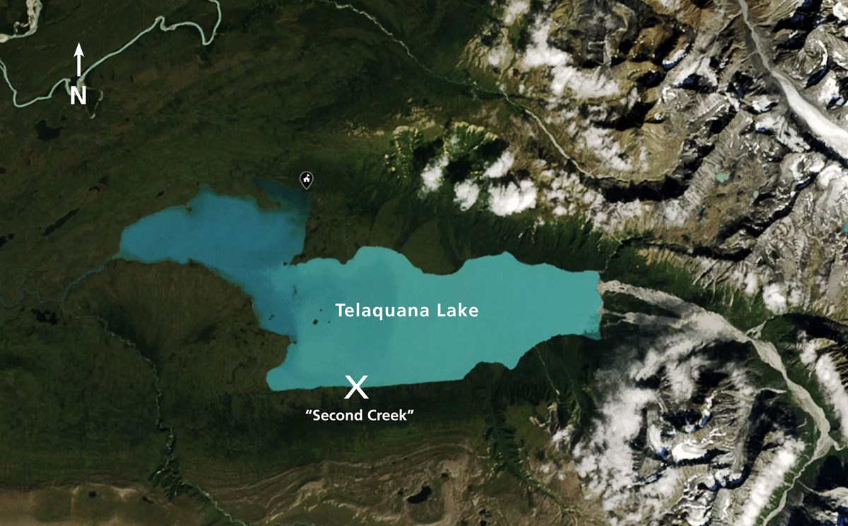 "Aerial image of Telaquana Lake with ""Second Creek"" approximate location"