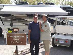 A husband and wife team work as campground hosts