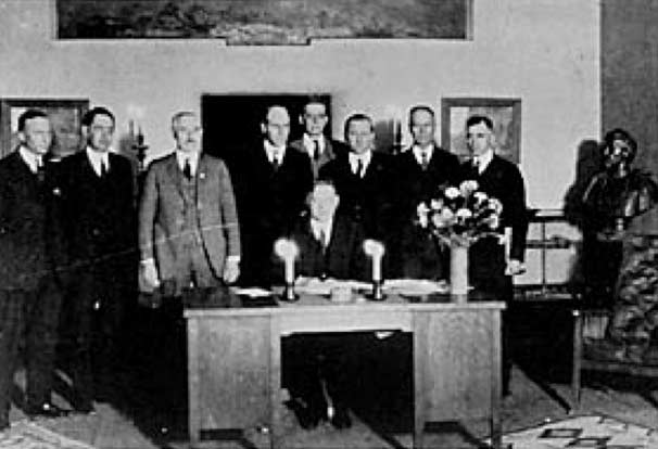 Commerce Secretary Herbert Hoover presides over the signing of the Colorado River Compact