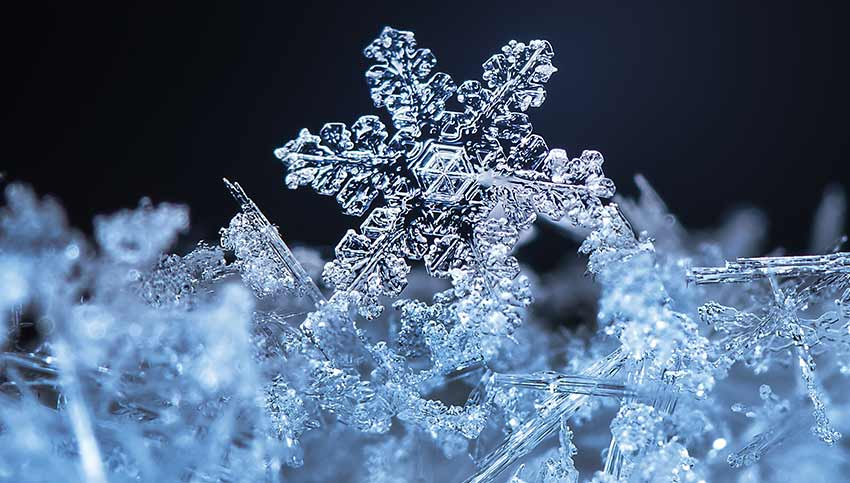 A microscopic view of a snowflake at -17 degrees Farenheit