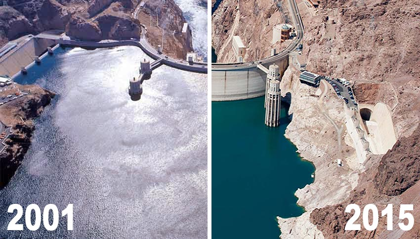 Lake Mead in 2001 and 2015