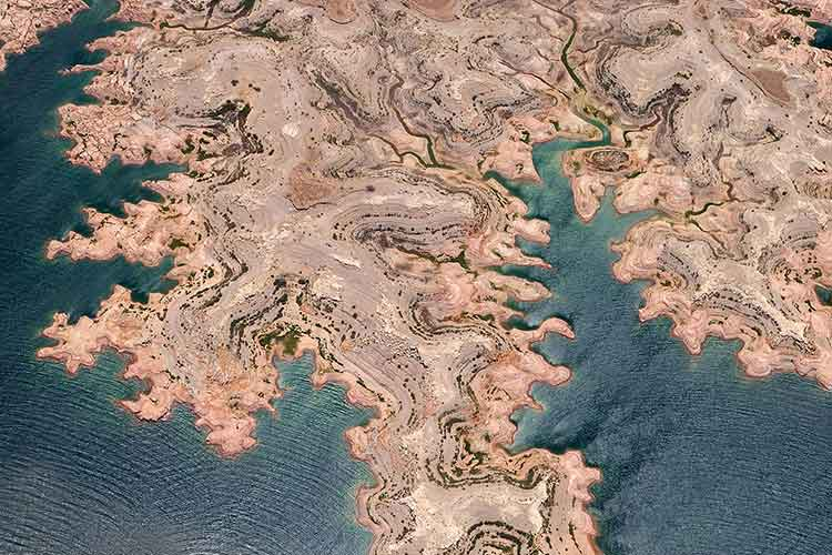 An aerial view of a Lake Mead