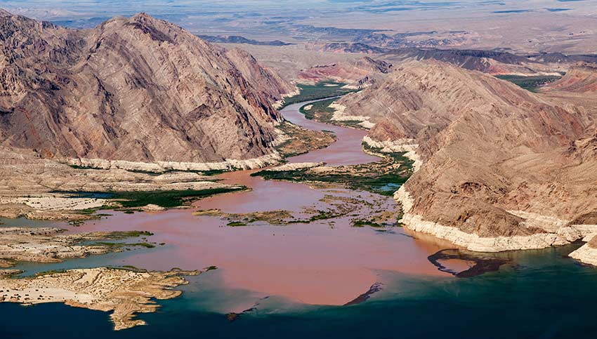 The Colorado River feeds into the Virgin Basin