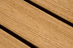 Composite decking of Cottonwood Green building, made of recycled plastic and rice hulls
