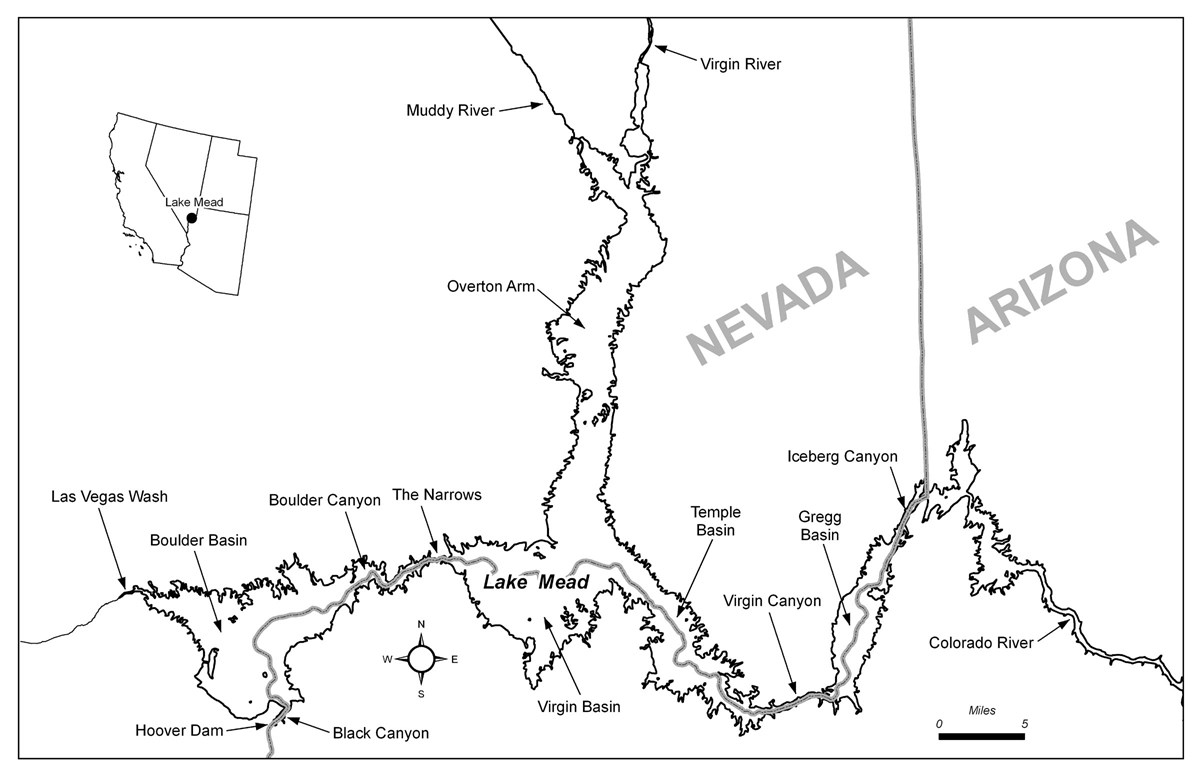 Lake Mead Overview figure 1, showing the location of the lake in Nevada and Arizona.