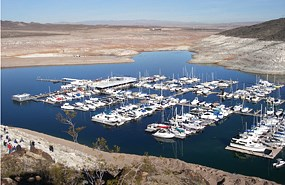 Lake Mead Marina showing declining lake level