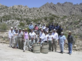 resource volunteers gather for a group picture after collecting blackbrush seeds