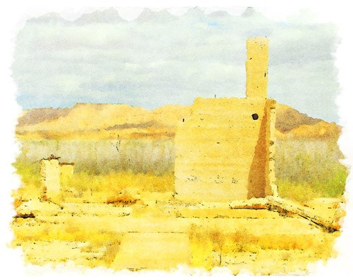 Painting of the ruins of an old home in the desert.