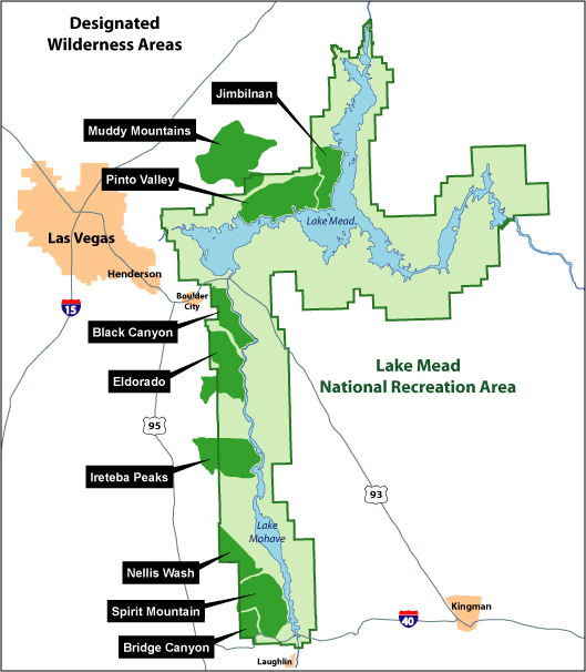 Overall Wilderness Map of Lake Mead National Recreation Area