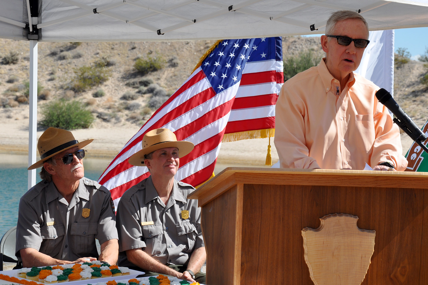 U.S. Sen. Harry Reid speaks at a ceremony at Lake Mead National Recreation Area in celebration of the park's 50th anniversary.