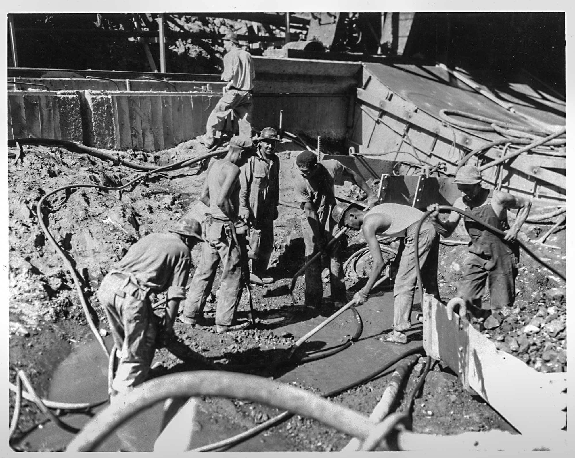 African American men working on the Hoover Dam