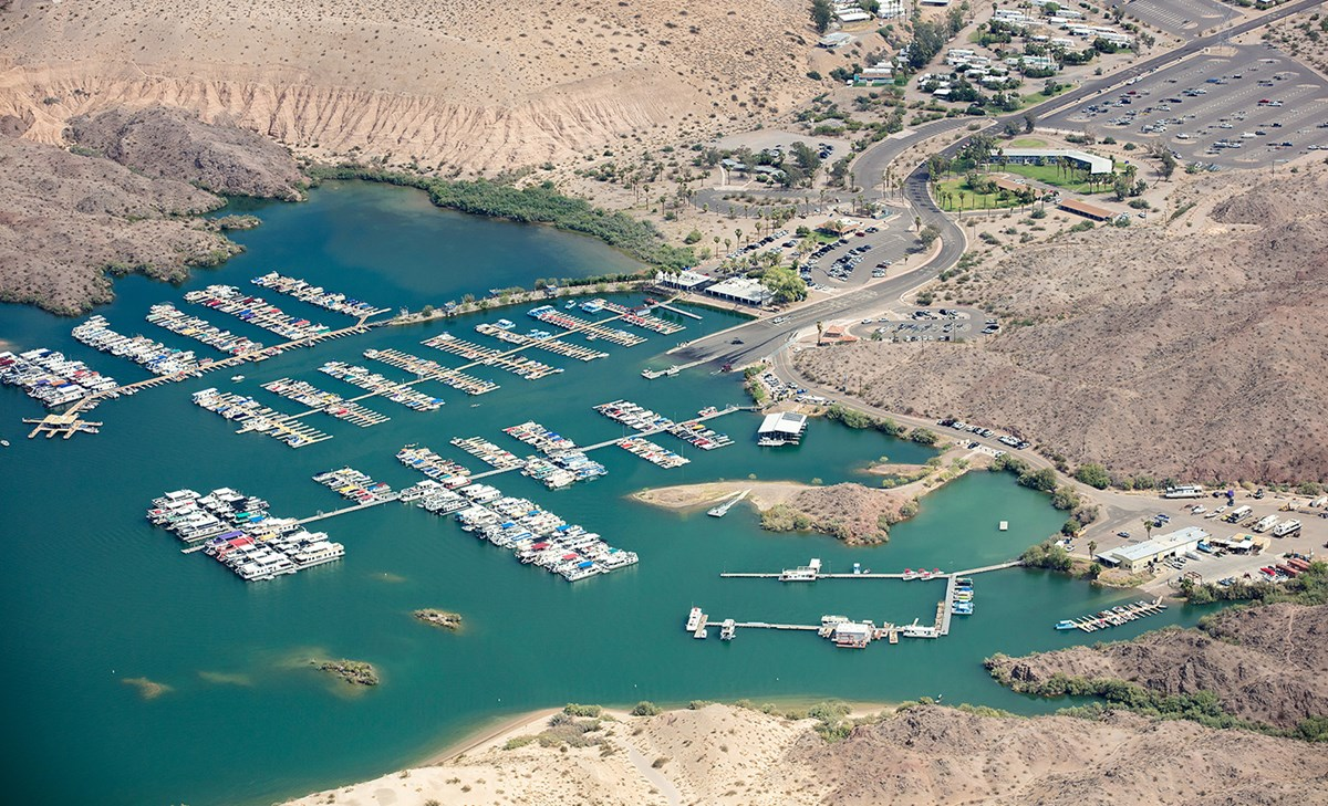 aerial view of marina with boats and parking lot at Katherine Landing