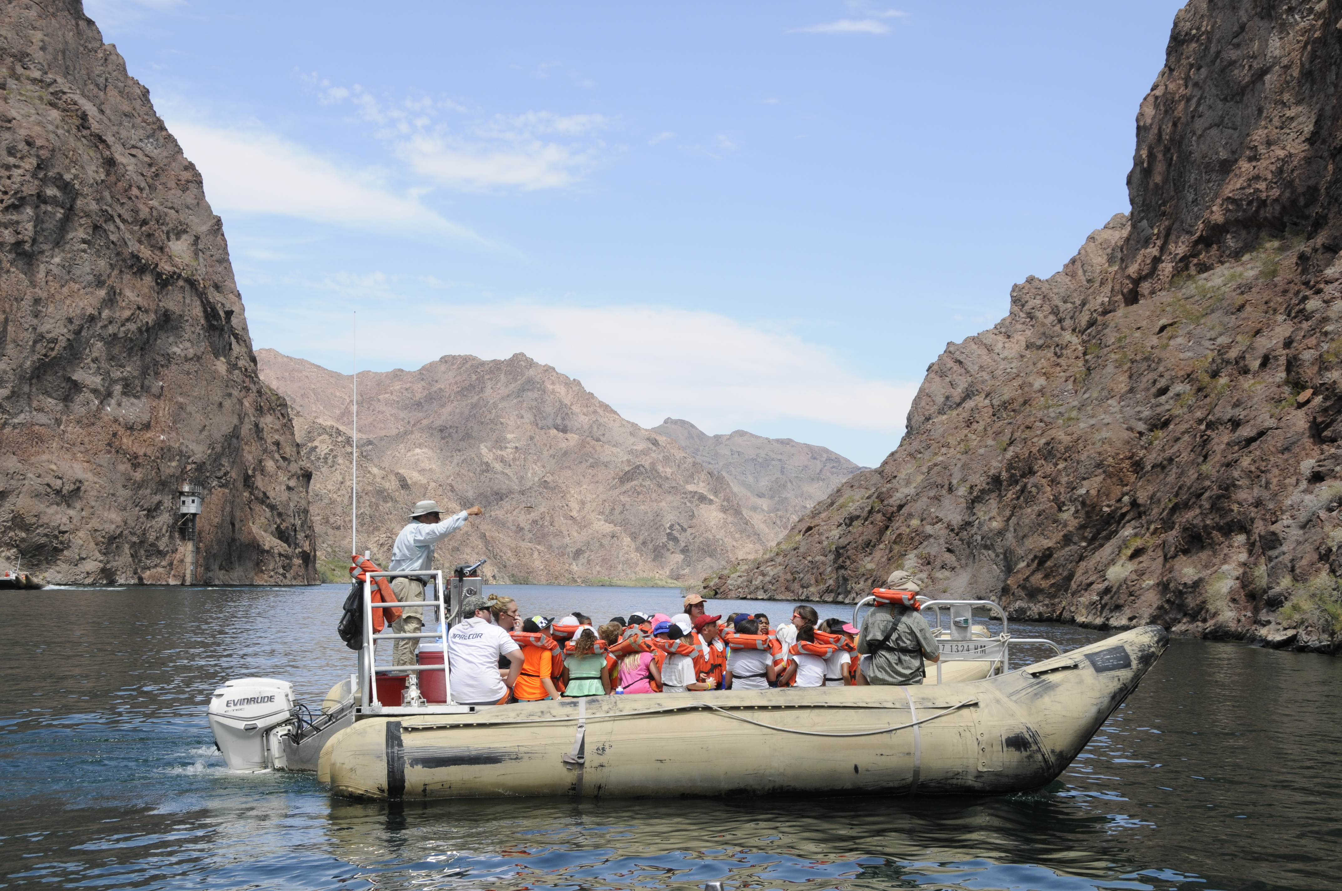 YMCA summer campers from North Las Vegas take a guided river raft tour on the Black Canyon Water Trail at Lake Mead National Recreation Area June 30, 2015. (NPS photo by Chelsea J. Kennedy)