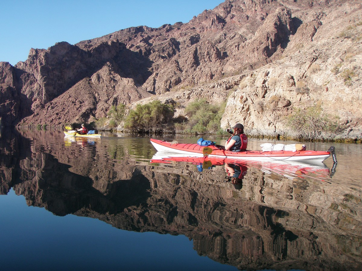 Kayakers paddling down Black Canyon Water Trail