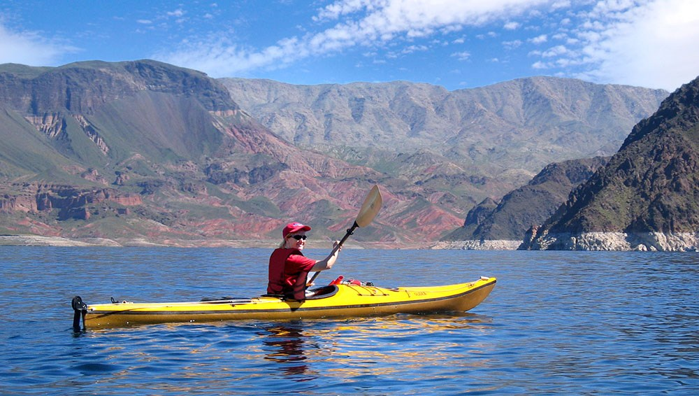 kayaker on lake mead
