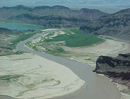 Water flowing through the Grand Wash area of Lake Mead National Recreation Area