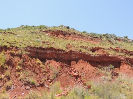 A view of Permian Red Beds at Fritch Fortress