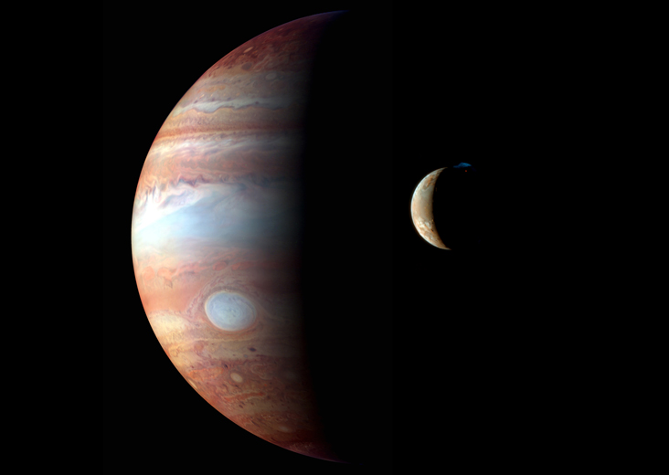 NASA image of Jupiter with its moon Io.