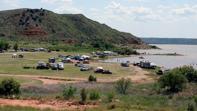 Cedar Canyon campground and Lake Meredith