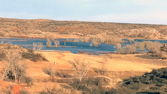 A view of the Chimney Hollow camping area and Lake Meredith