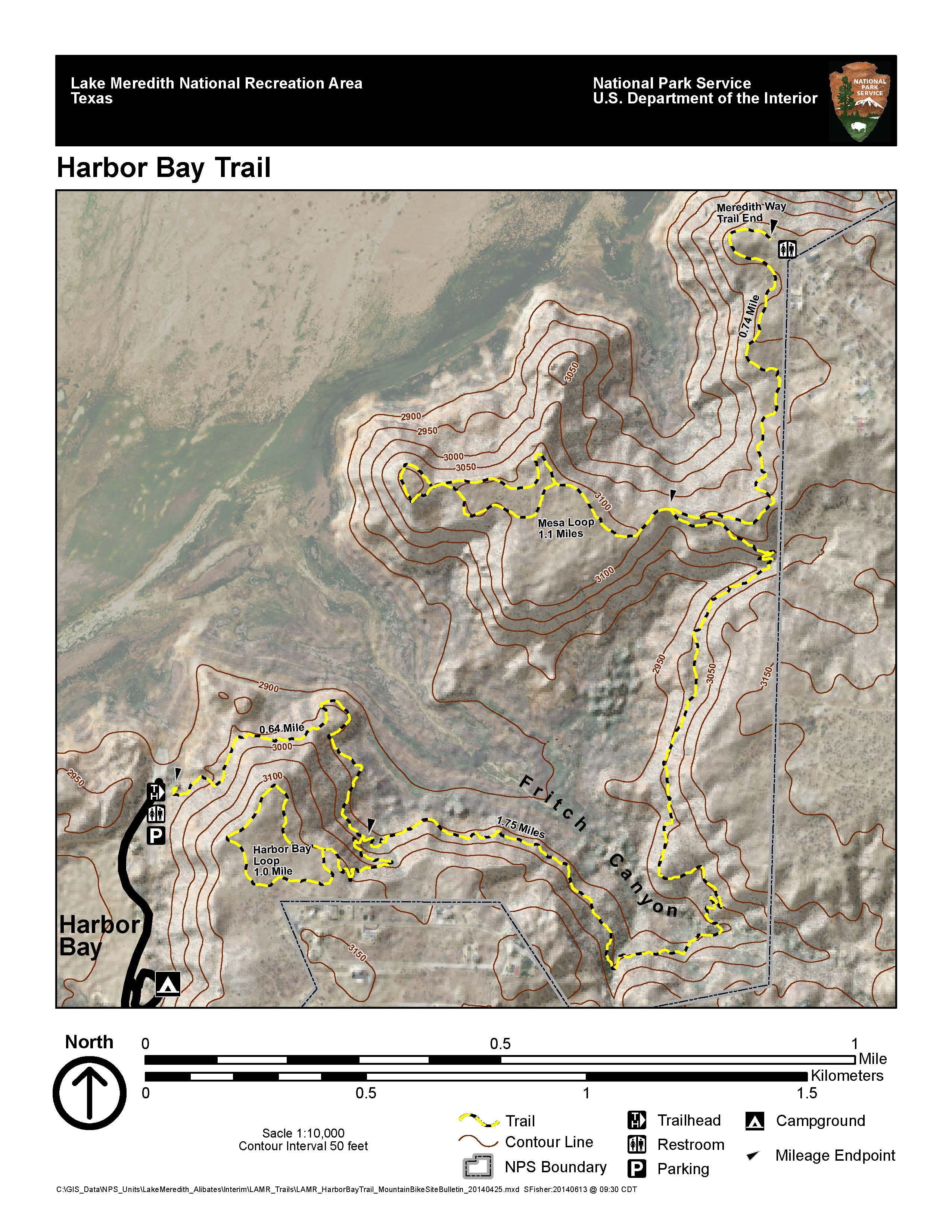 Harbor bay trail lake meredith national recreation area for Lake meredith fishing report
