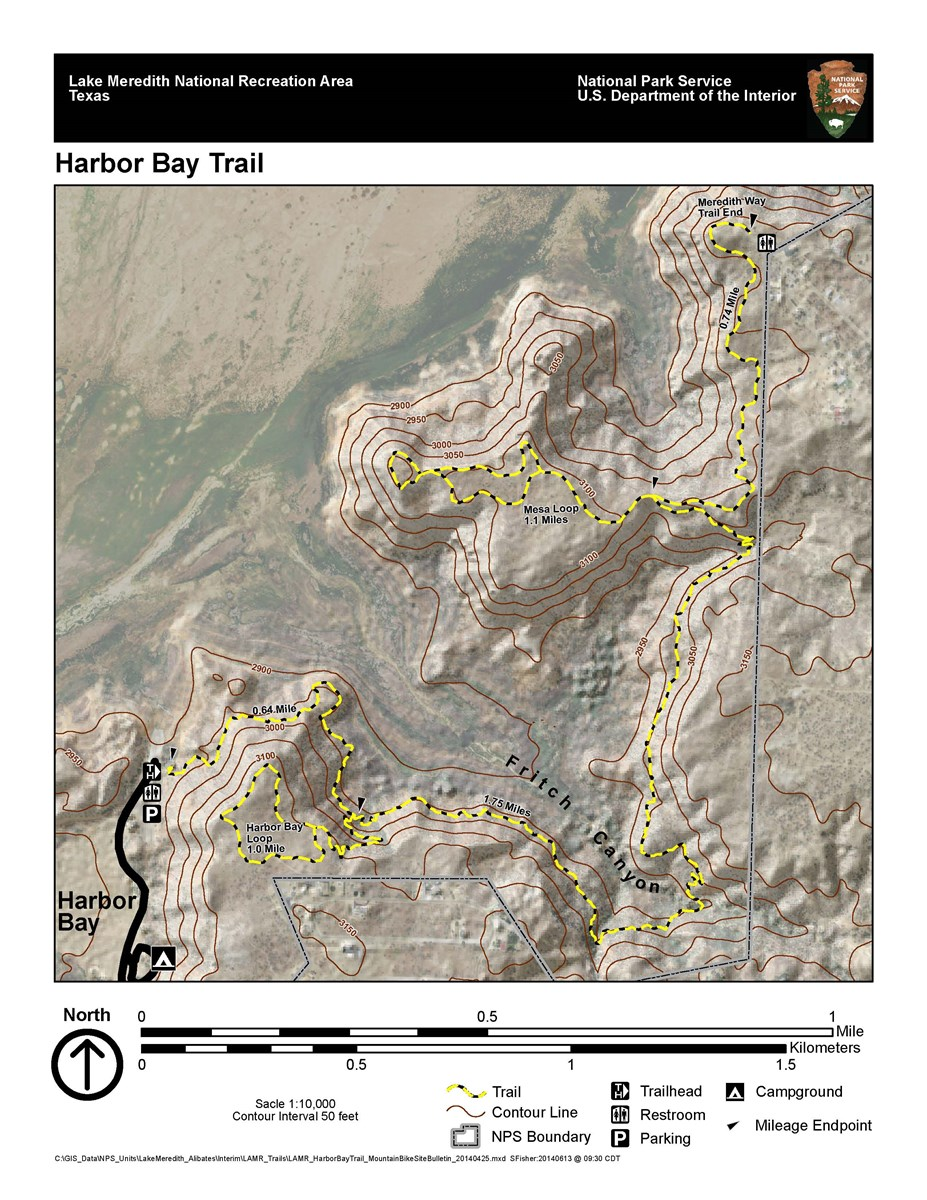 Harbor Bay Trail system map for hikers and mountain bikers