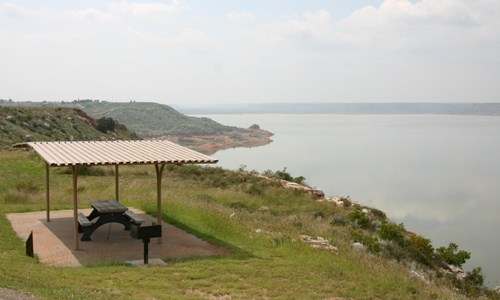 Fritch Fortress Campground overlooking Lake Meredith.