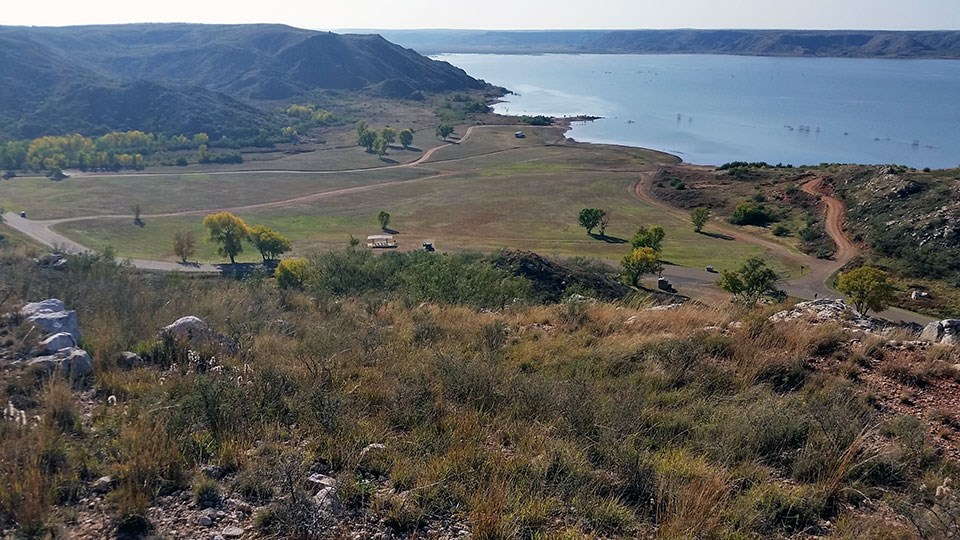 View of the Harbor Bay camping area and Lake Meredith from Harbor Bay Trail