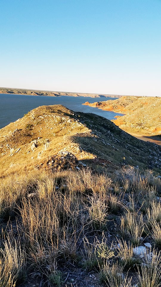 View of the Lake Meredith from Harbor Bay Trail near Meredith Way