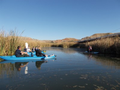 Visitors enjoy a guided kayak trip through Spring Canyon.